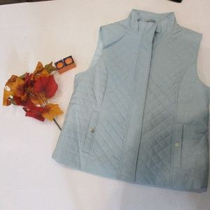 Nine West Powder Blue Quilted Vest Size Large